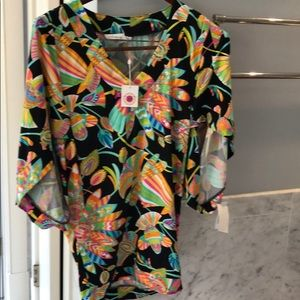 Swim material tunic top or cover-up